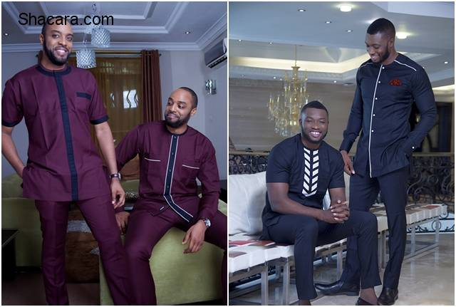 Kalu Ikeagwu & Emmanuel Ikubese Model For Vanskere's New Afropolitan Three Piece Collection