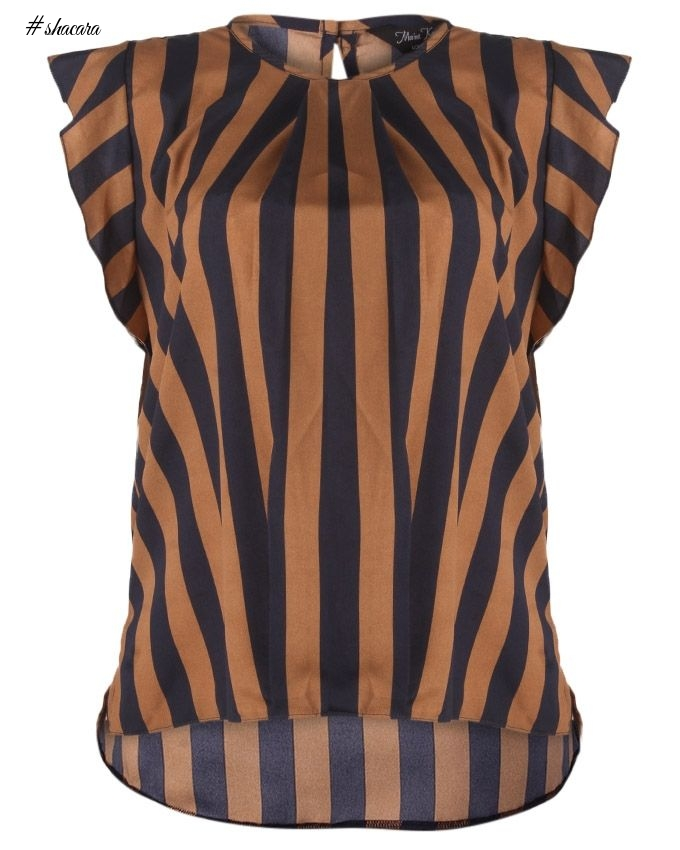 Marina Kaneva Stripped Womens's Blouse - Brown/Blue