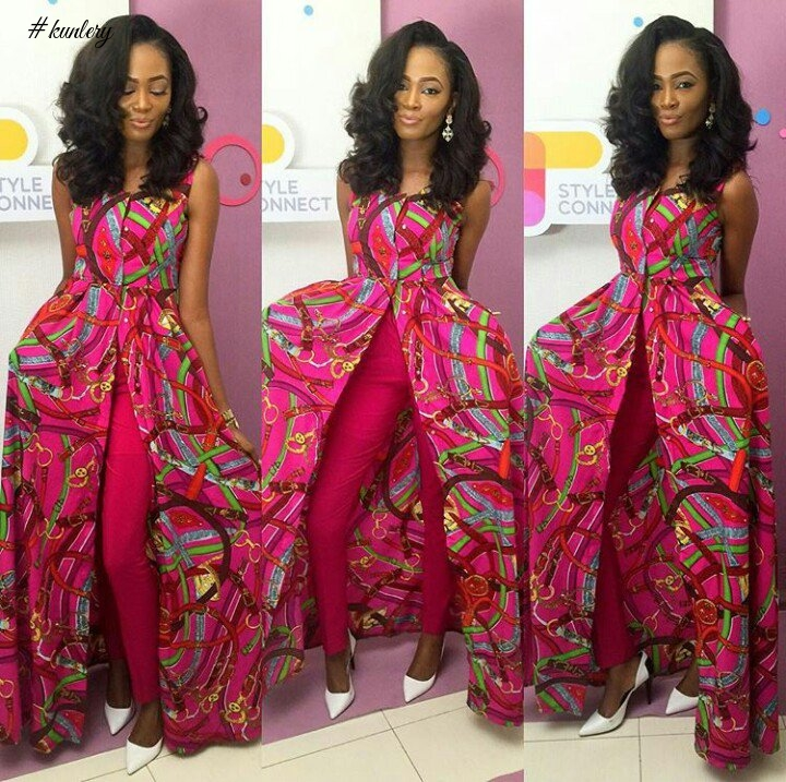 Ankara Long Cape Top And Trouser Styles
